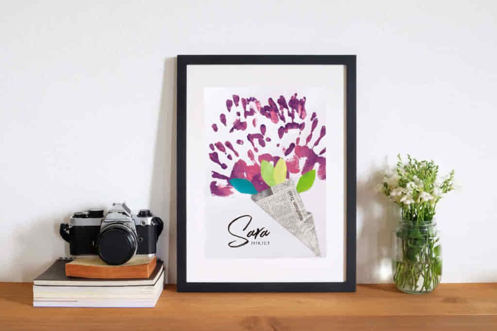 【保育園の手作り制作】母の日プレゼントに花束の手形アート